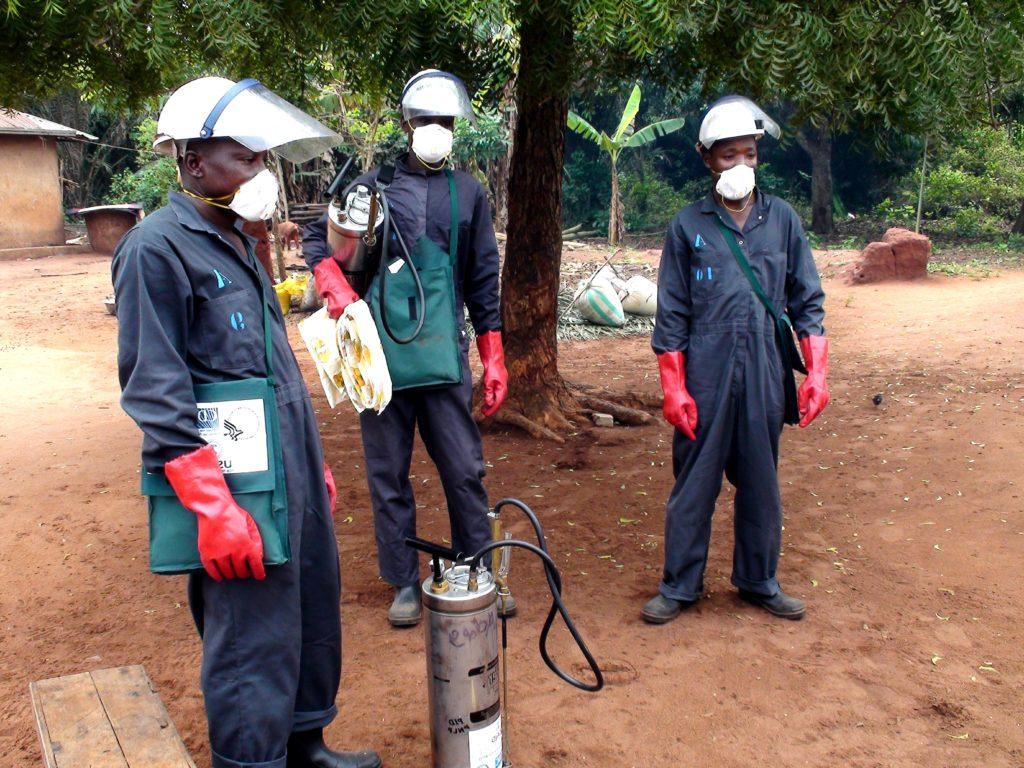 insecticide spray operators full gear