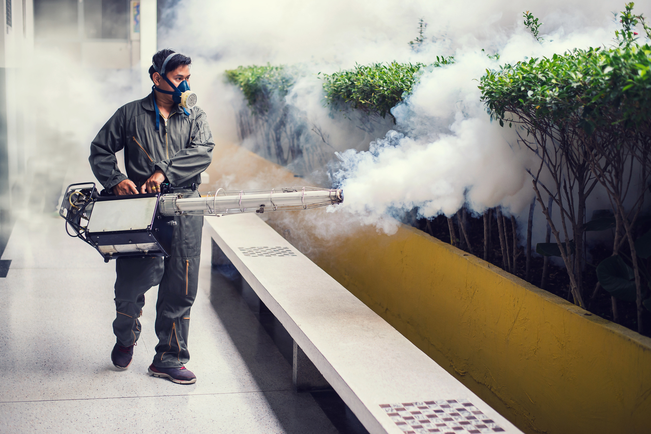 The man's fogging to eliminate mosquito for preventing spread dengue fever and zika virus