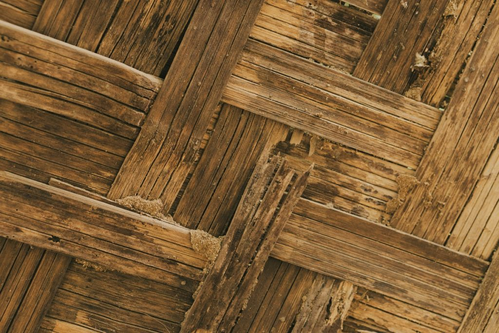 Bamboo wall construction with termites damage